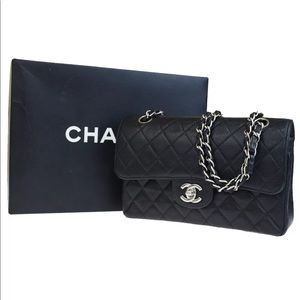 Auth CHANEL CC Double Flap Silver Chain Handbag